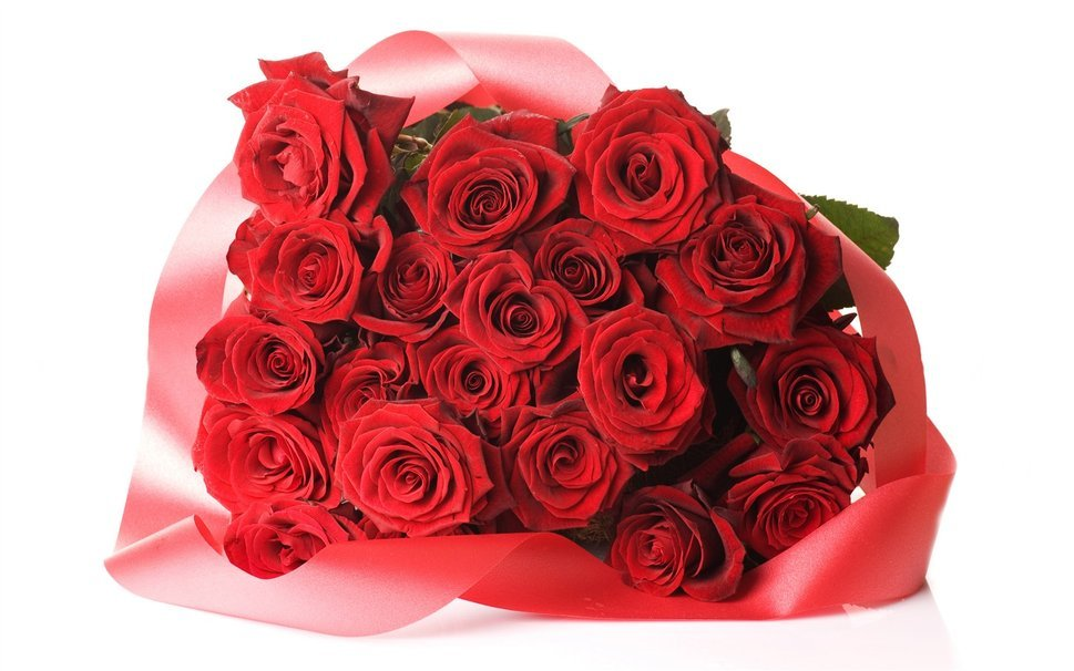 Открытка с букетом красных роз на день рождения, открытка увидимся