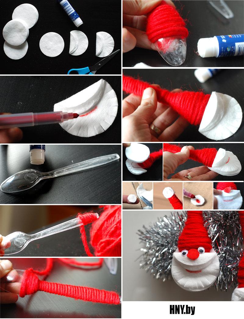 Новогодние поделки из ватных дисков: делаем Деда Мороза