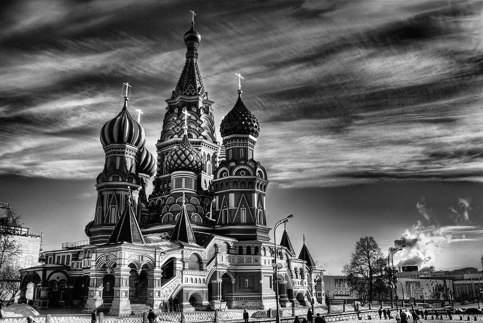 Объемная храм, черно белые картинки о москве
