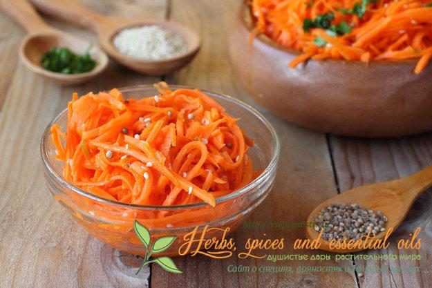 Интересная статья про то, какие специи для корейской моркови нужно взять, чтоб получить очень вкусный и ароматный салат. Рецепты приготовления с фото и виде