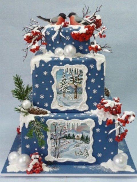 торт с зимними пейзажами