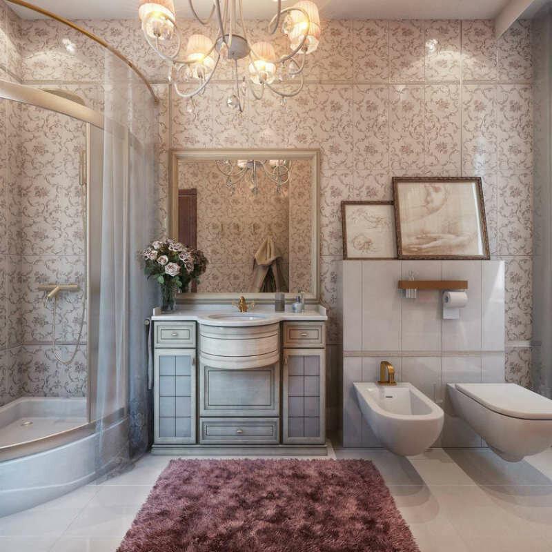 Нежная ванная в стиле прованс