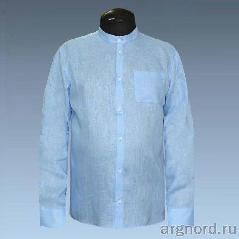 80eaa56a8508b58 ... Замечательная мужская рубашка с длинными рукавами и воротником-стойка,  выполнена из натуральной льняной ткани