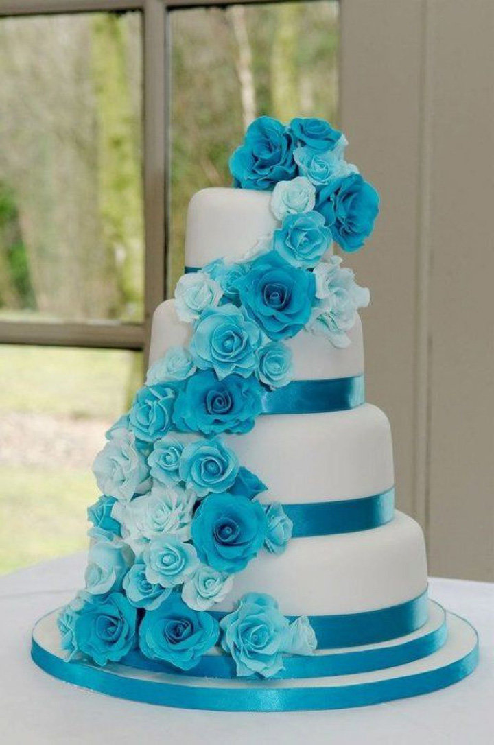 Purple And Turquoise Wedding Cakes