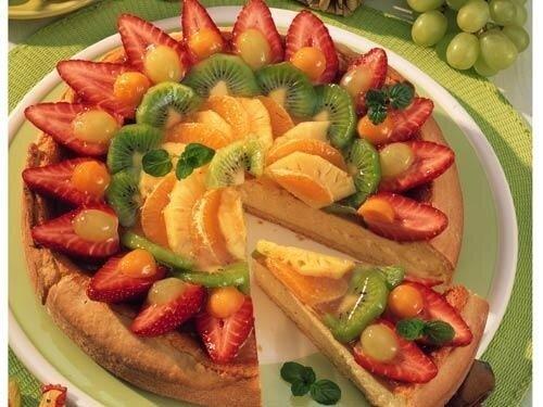 Сливочный торт с фруктами фото