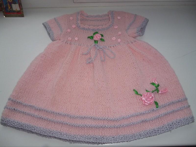 вязаное платье для девочки розовая симфония вязание спицами