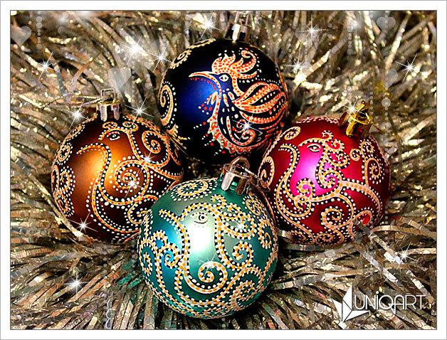 Авторская ёлочная игрушка «Птичка». Ручная роспись темперными красками. Новогодние шары ручной работы. Красивая упаковка подарков.