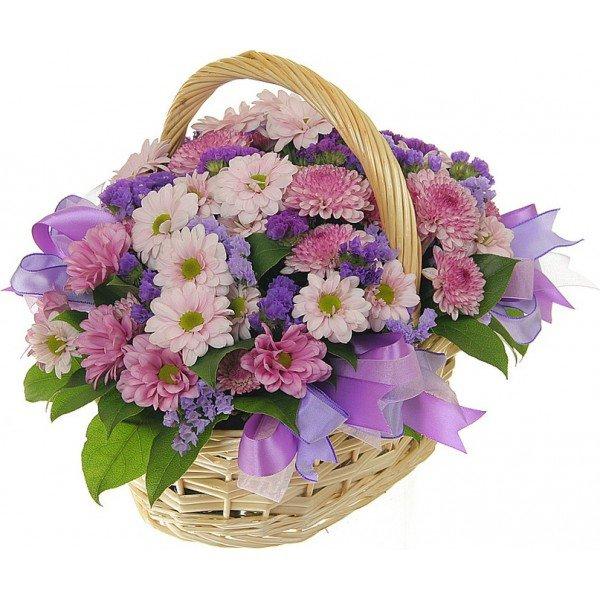Букеты цветов в корзинах недорого