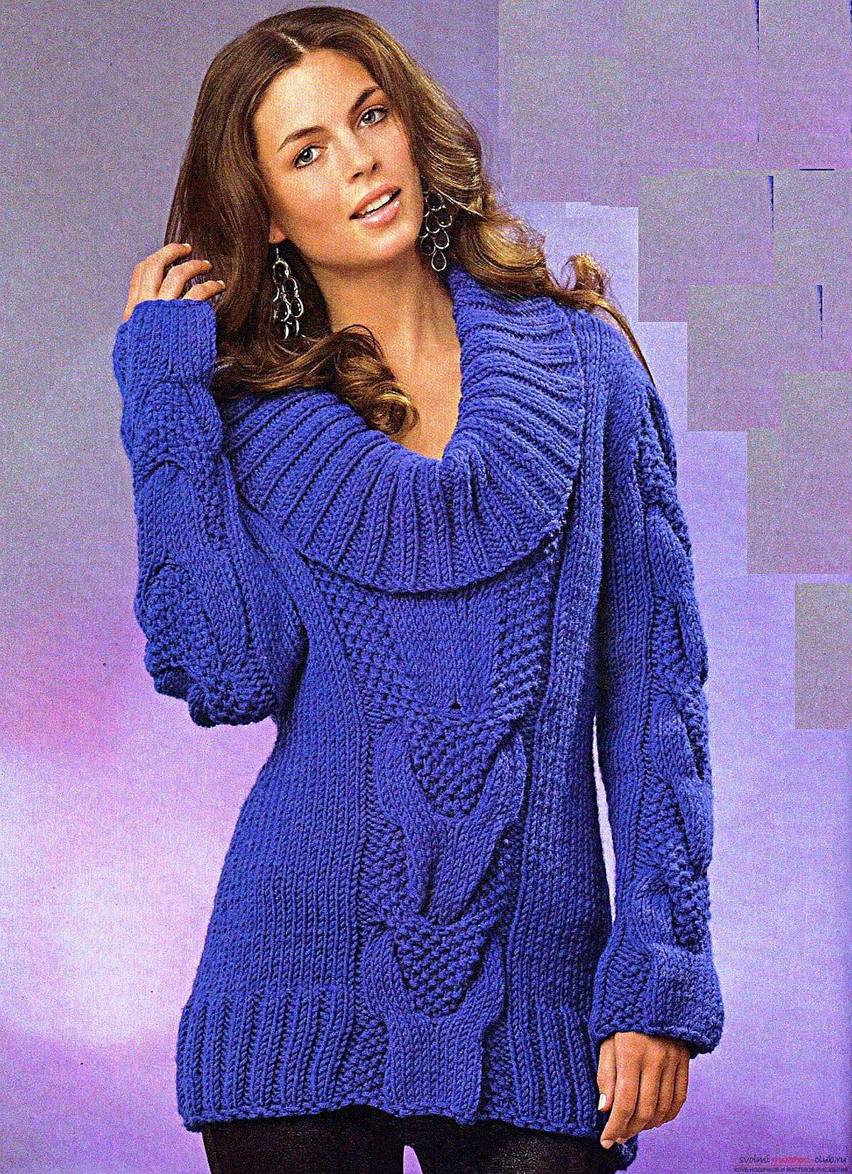 Женский пуловер с воротником хомут спицами
