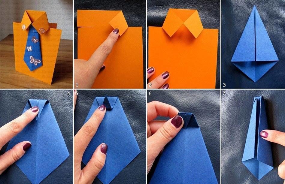 Открытка пошагово рубашка с галстуком