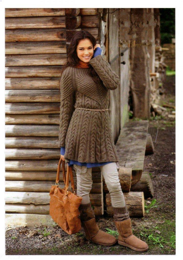 Вязаное платье коричневое