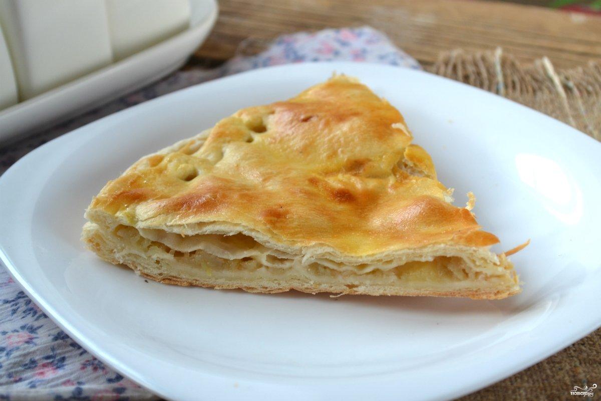 рецепт пирога из дрожжевого слоеного теста с яблоками