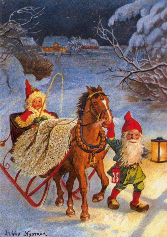 День, открытка с швецким рождеством