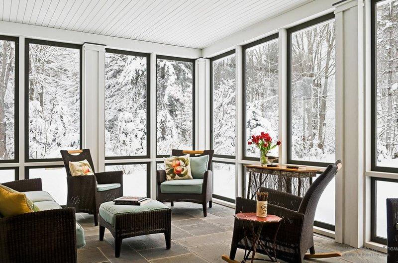 Дизайн закрытой веранды, где уютно даже в зимнее время