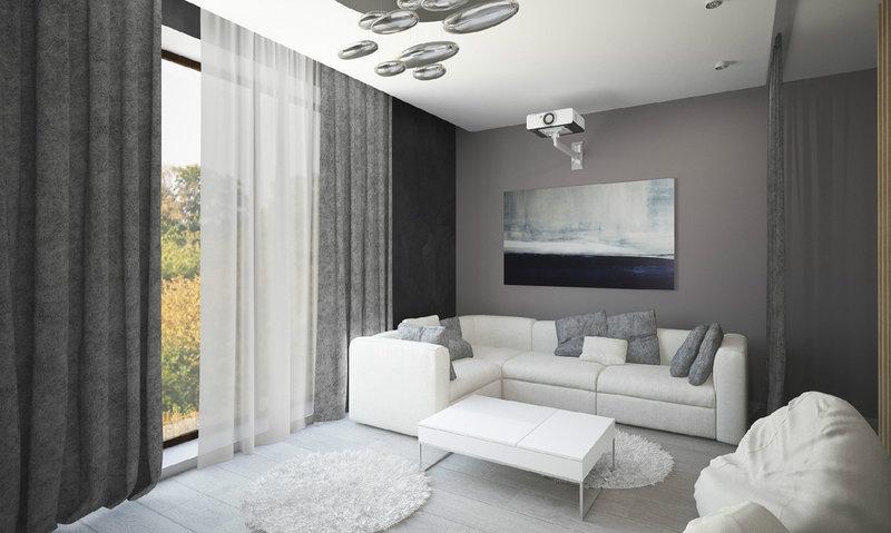 интерьер гостиной в бело серых тонах фото