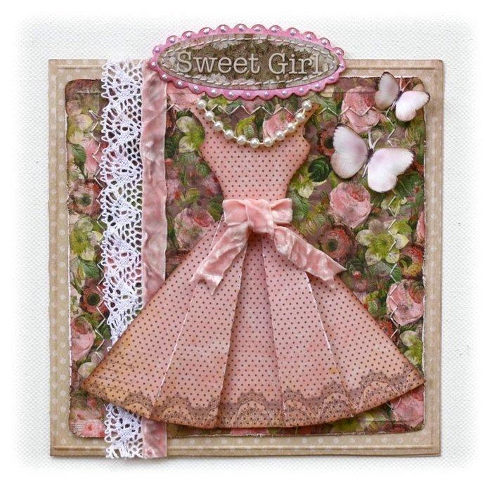 Платье на открытку скрапбукинг