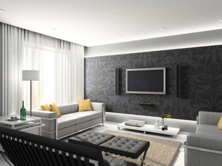 Серый цвет в интерьере гостиной,