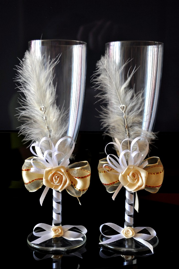 Украшение свадебных бокалов своими руками: фото