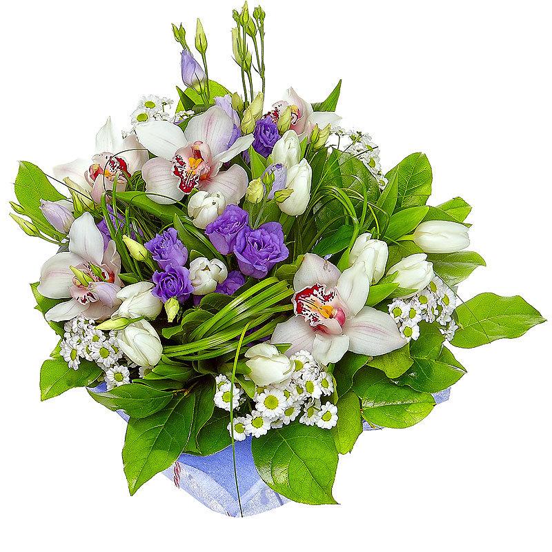 Доставка цветов, праздничные букеты с орхидеями и розами