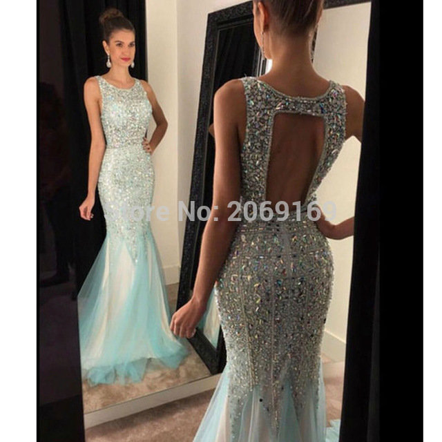 78a8bf2ac25 ... Купить товар Мода роскошные длинные вечерние платья 2016 o шеи кристалл  бисера женщин театрализованное платье формальные