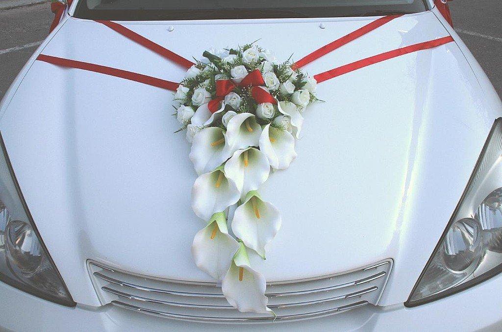 Свадебный букет с лентами на капот.как прикрепить, купить цветы самаре