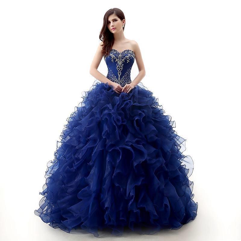 Платье бальное голубое