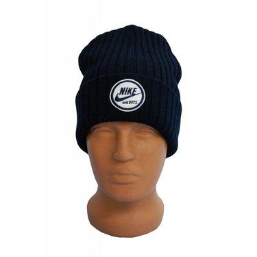 6b8859ad Молодежная мужская черная шапка Nike с отворотом