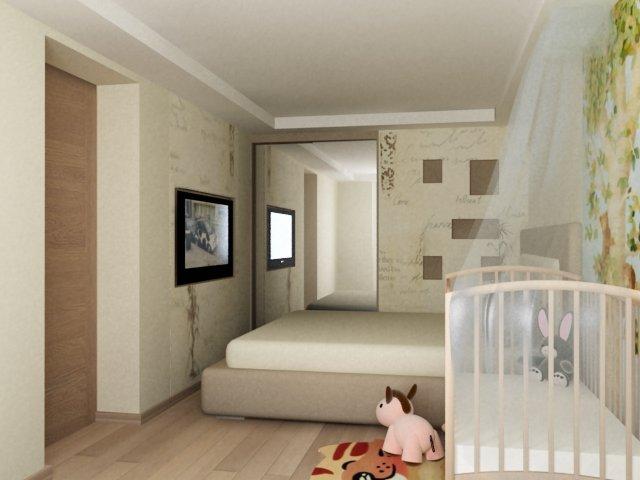 Спальня родителей и детская в одной комнате правильное зонир.