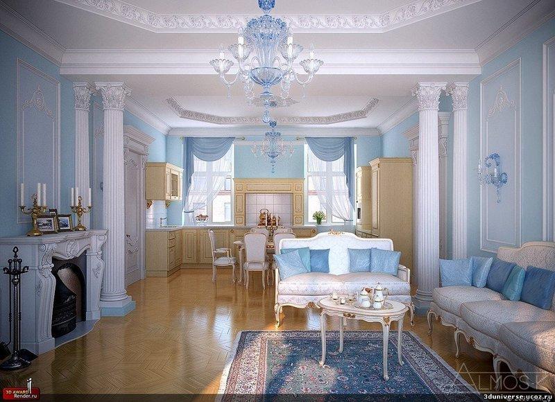 Гостиная в голубом цвете