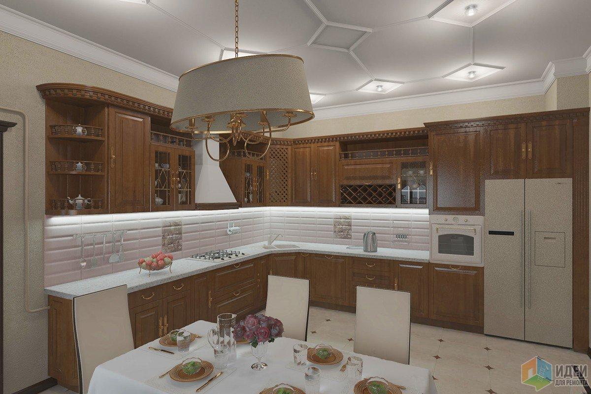 дизайн кухни гостиной в классическом стиле от дизайнера алекс линн