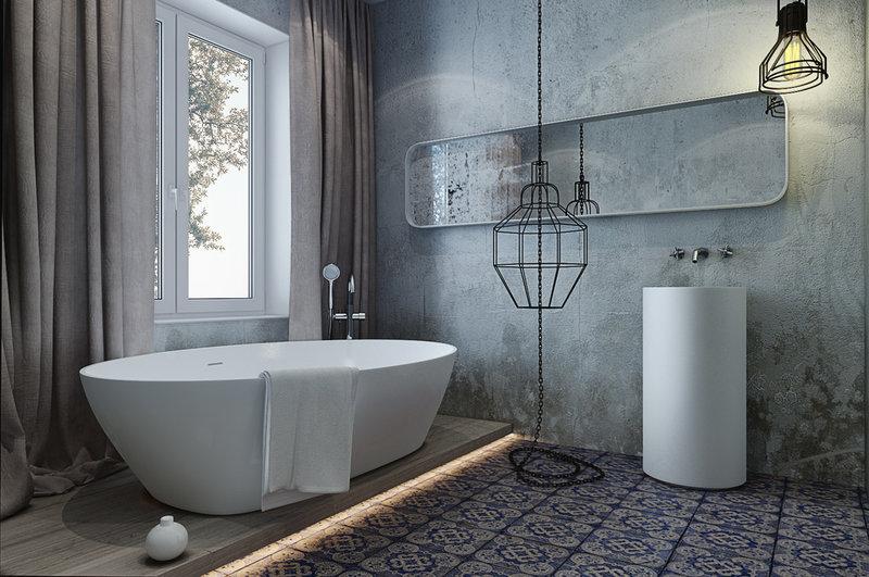 Плитка серого цвета для ванной