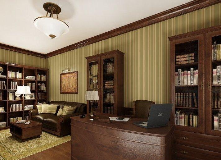 Мебель для домашнего кабинета в темных тонах