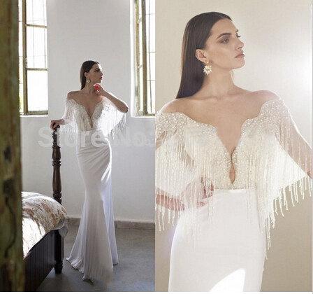 8e2676d8e6b ... Купить товар Мода белый длинные вечерние платья 2016 половина рукава  сексуальная низкая грудь meimaid slim женщины