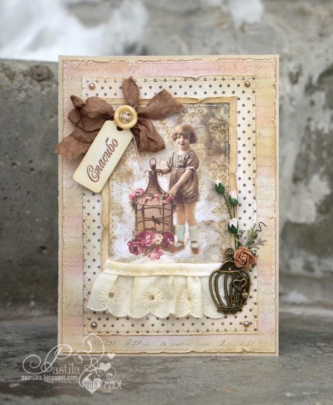 Девушка, состаривание открытки