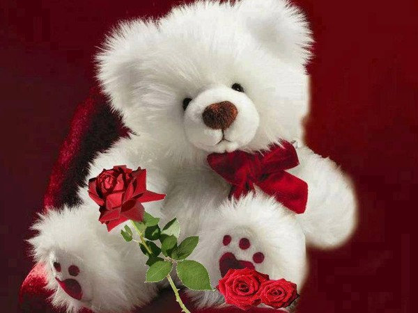 Мишки с розами открытки