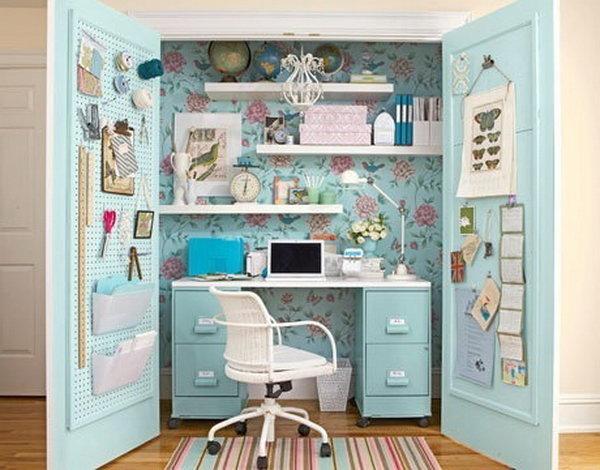домашний кабинет в голубом