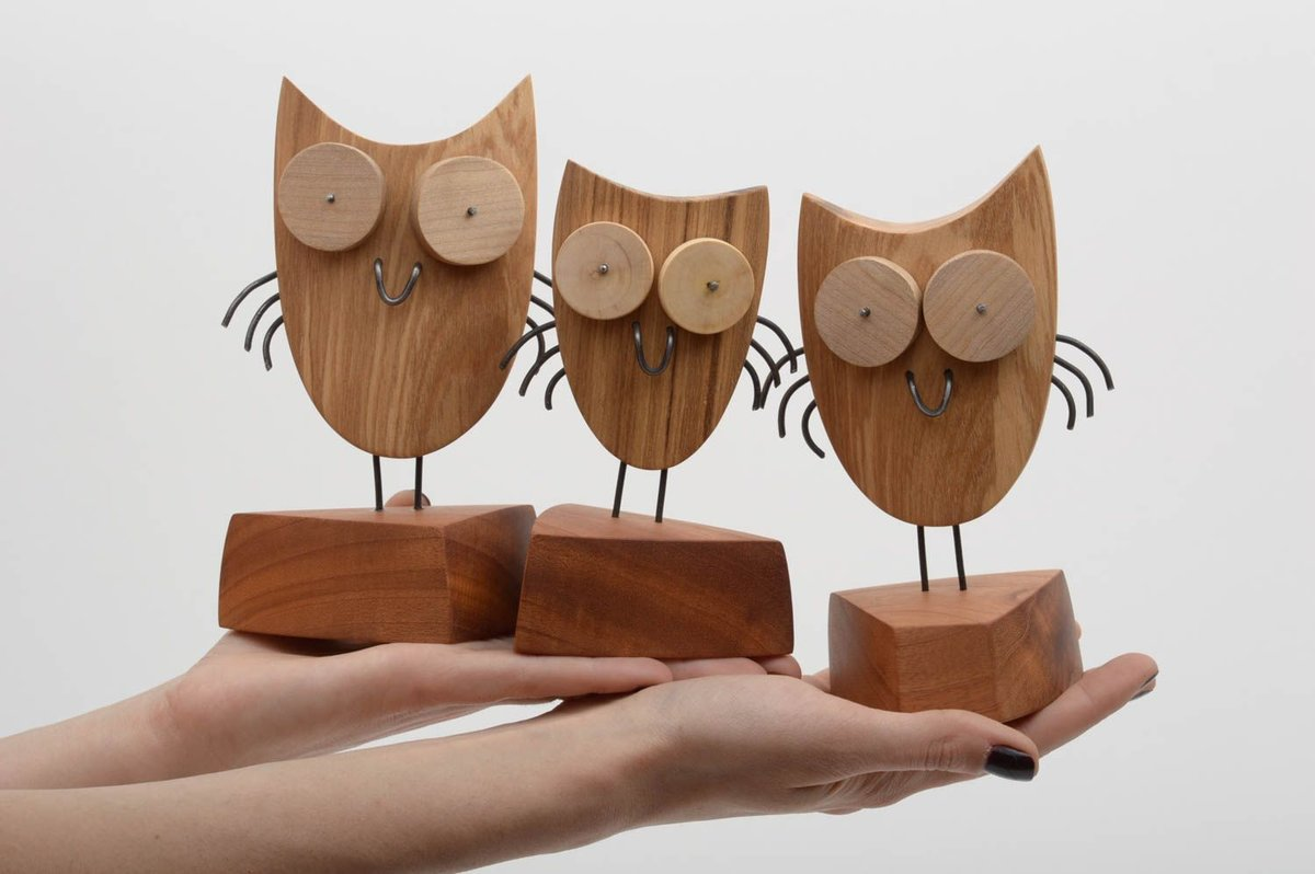 картинки подделок из дерева нарисовать сову поэтапно