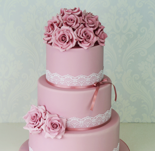 Торт на свадьбу розовый