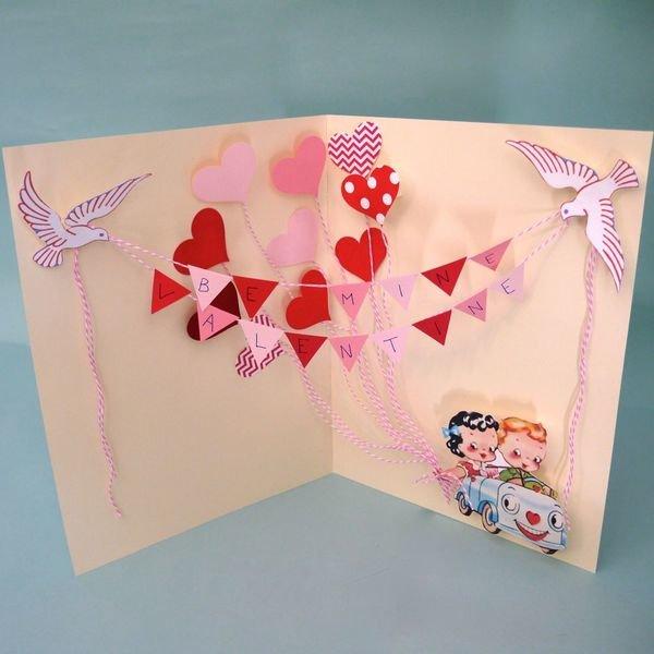 Как сделать складную открытку на день святого валентина, днем рождения для