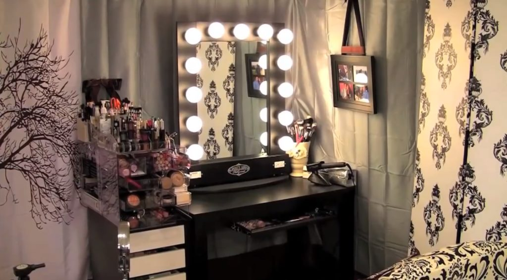 Mirrors Rectangular Vanity Mirror With Black Frame Which Bined Lights And Chair Dresser Appealing