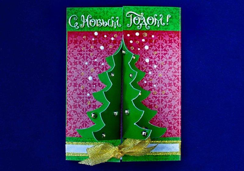Здравствуйте, объемная открытка с елкой внутри