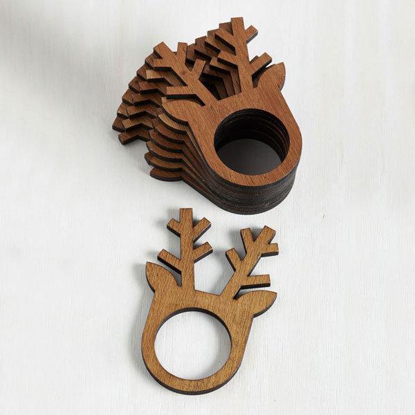 "Кольца для салфеток ""Олени"". Размер: 45х35х3мм. Материал: фанера."