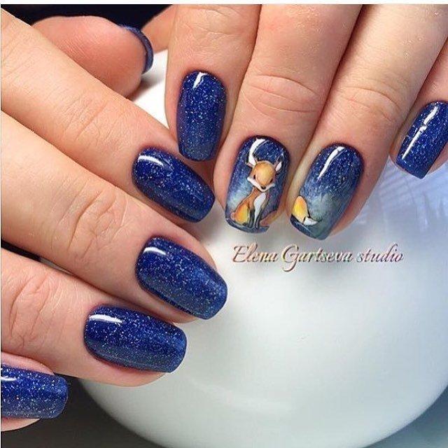 маникюр с синим цветом фото