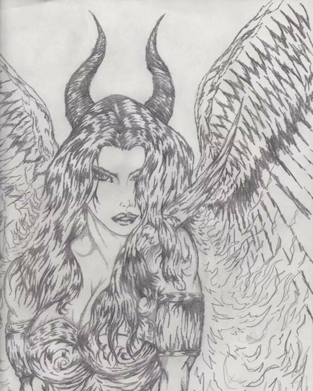 Картинки в карандаше ангелы и демоны