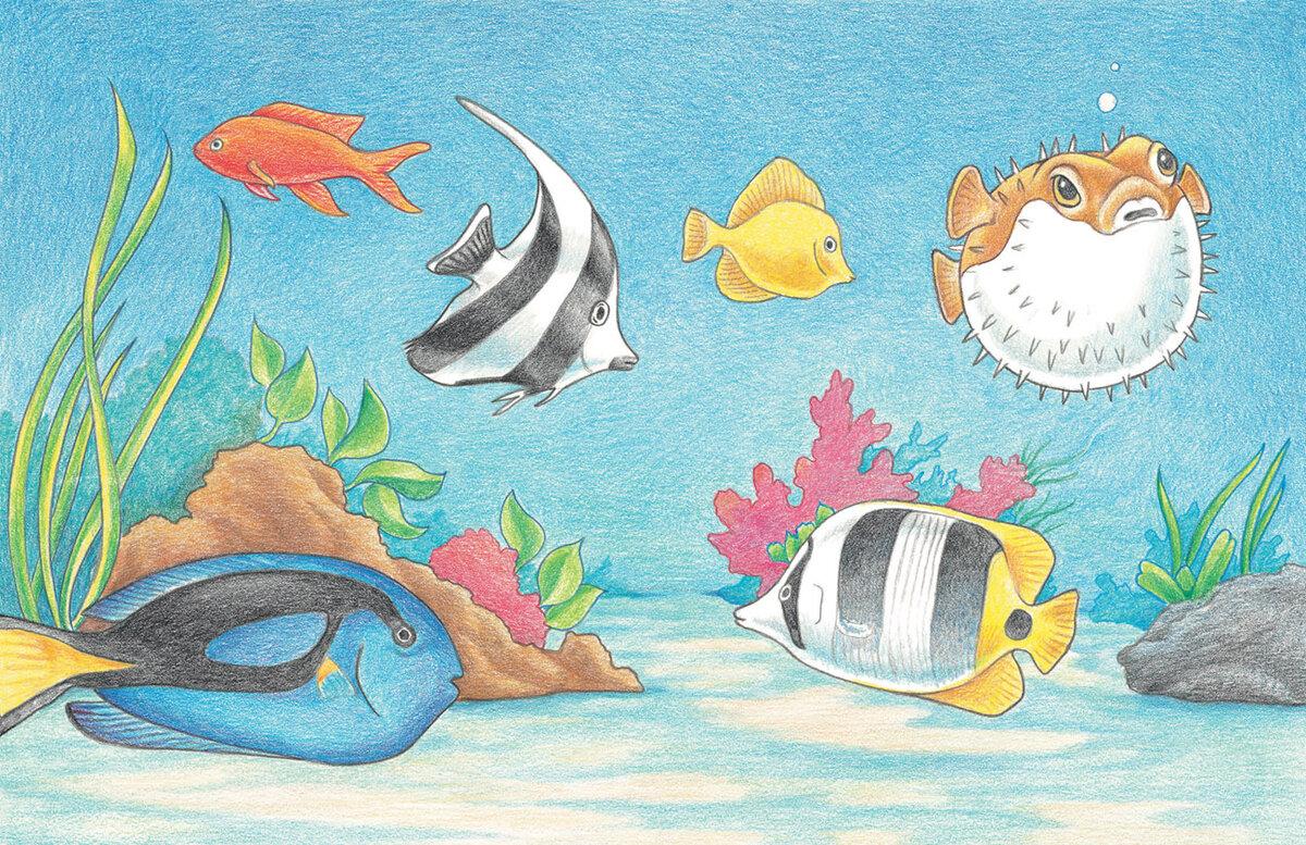 что картинки подводный мир рисунки карандашом данной статье