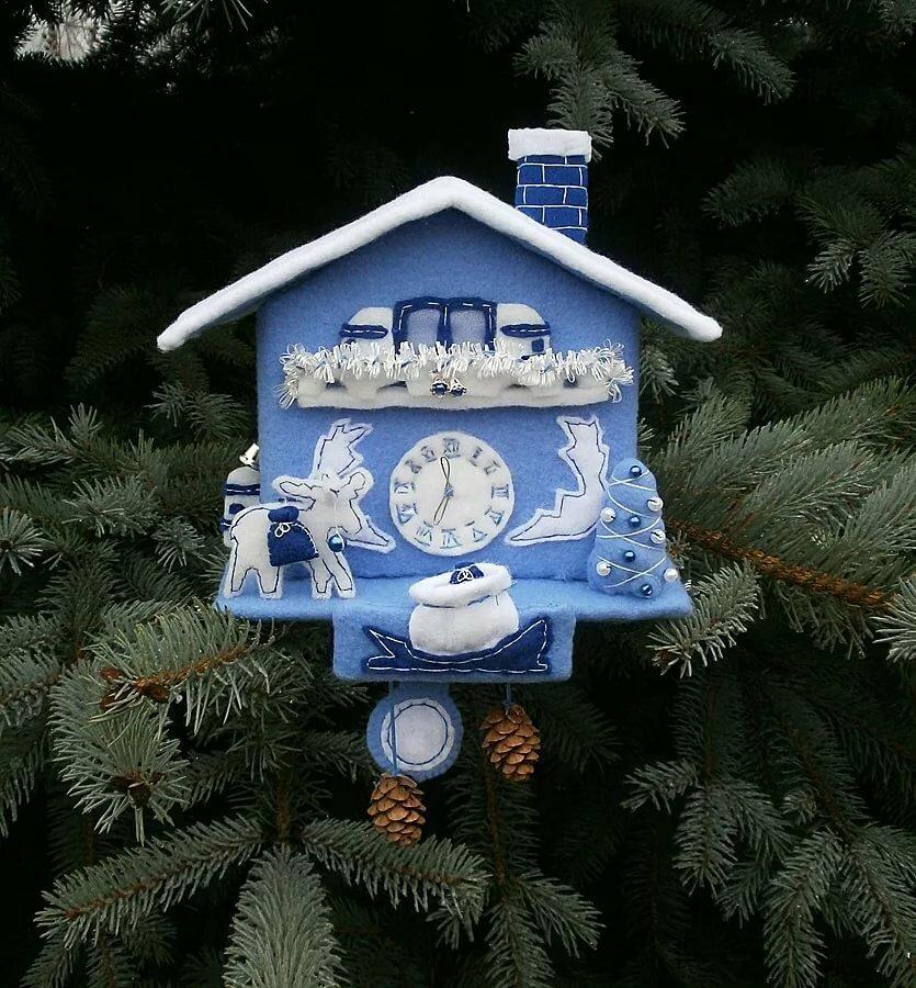 поделка новогодние часы своими руками из коробки