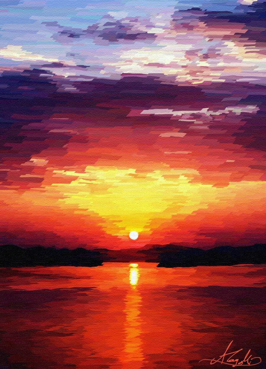 Картинки рисунки с закатом