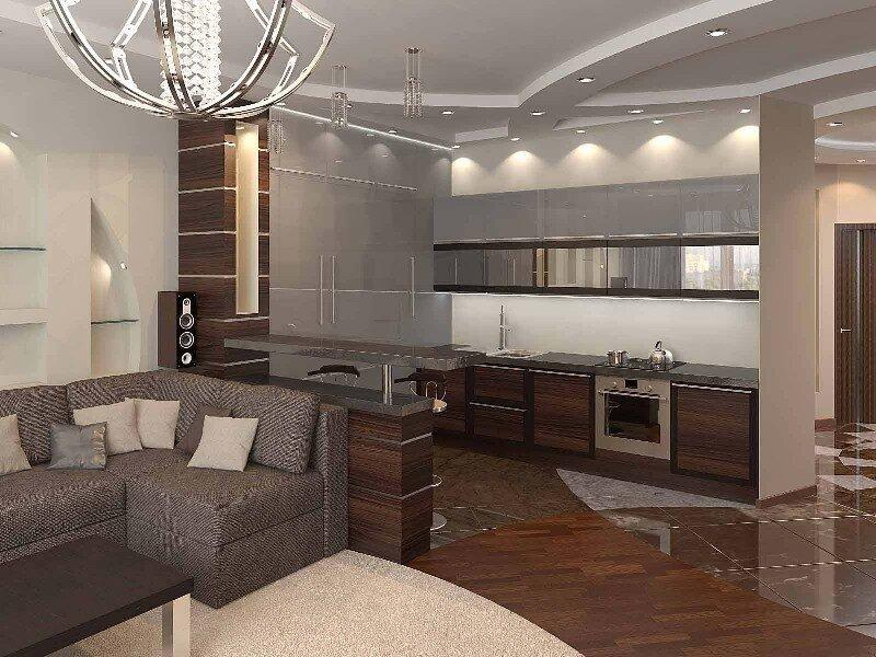 Объединение гостиной и кухни фото элитное