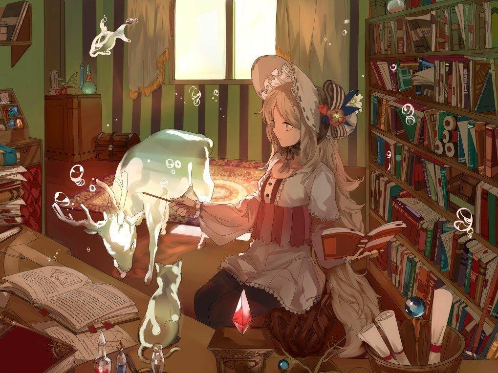 Аниме девушки с книгами арты