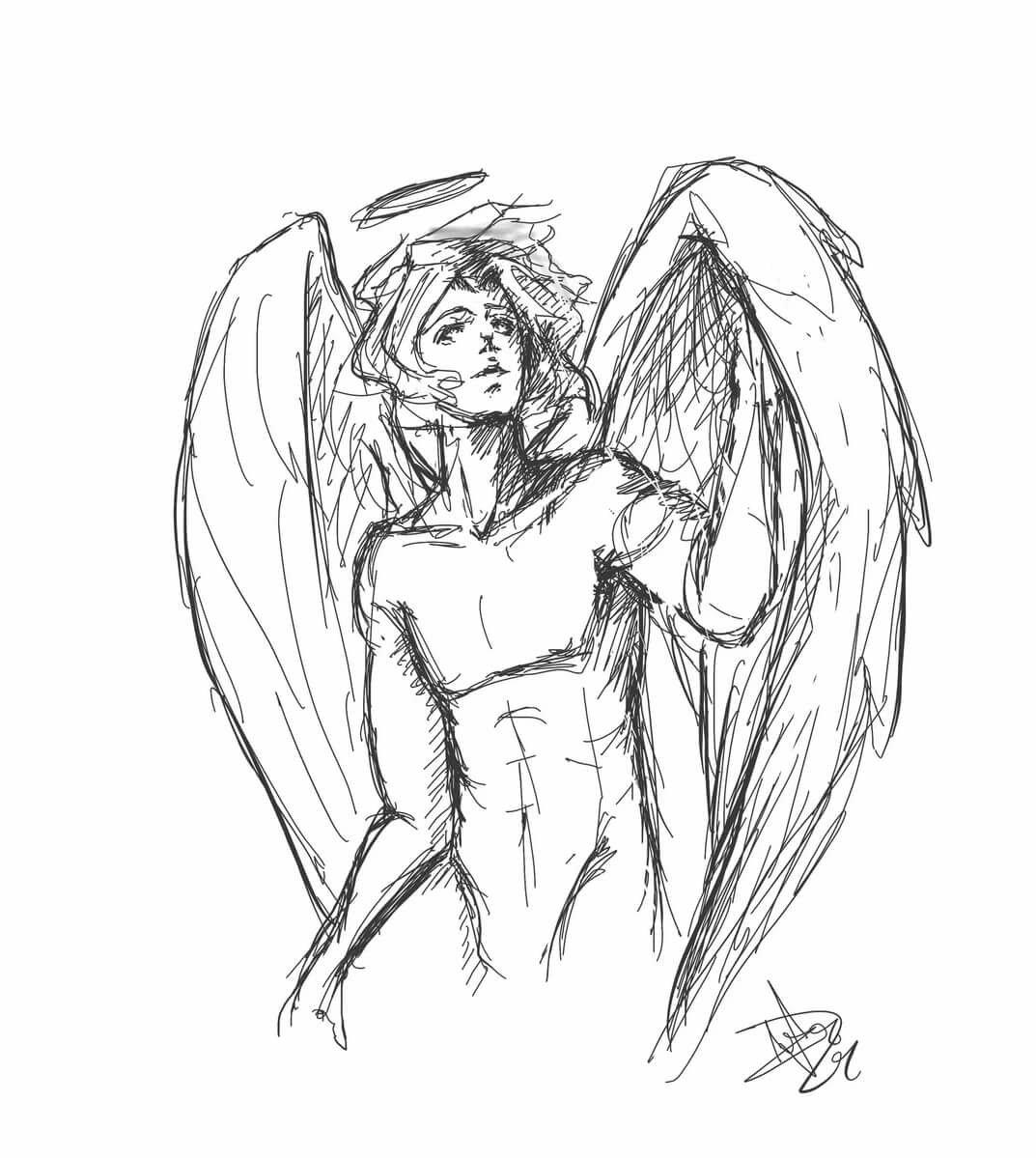 Картинки дьявола и ангела для срисовки